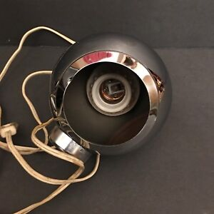 Mcm Space Age Chrome Eyeball Swiveling Orb Lamp Vtg George Nelson Eames Era