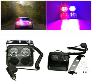 Red Blue 8led Car Windshield Emergency Warning Lamp Dash Flash Strobe Light 24w