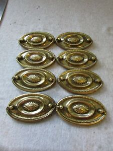 10 Vtg Drawer Drop Ring Pulls Brass Hepplewhite Federal Pattern 2 75 Ctoc