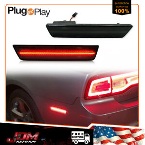 Smoked Red Led Rear Side Marker Lights For 08 14 Dodge Challenger 11 14 Charger