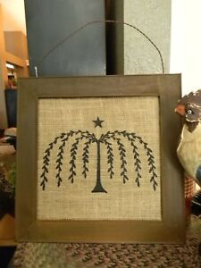 Rusty Metal Frame Burlap Willow Print Picture Primitive Country Farmhouse