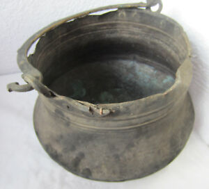 Large Big 19thc Antique Hand Forged Fire Copper Pot Kettle Caldron Patina Old