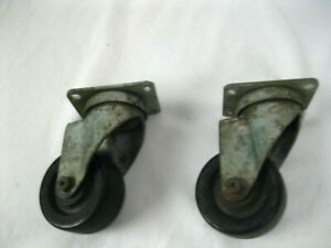 Vintage Antique Metal Industrial Furniture Casters With Cast Iron Wheels 3 Cir