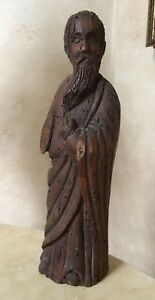Spanish 16th Century Carved Wood Statue Of A Saint