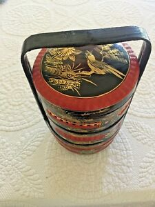 Japanese Black Lacquer Gold Red Wood Bamboo Bento Stacking Box
