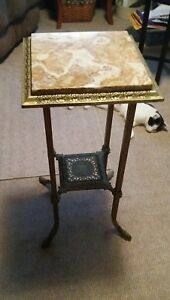 043 Antique Brass Marble Plant Stand Lamp Table Victorian