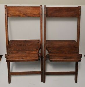 Vintage Antique Wood Folding Chairs Set Of 2 Wooden Oak Local 50s 60s