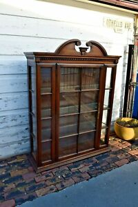 Vintage Lighted China Hutch Book Case Display Solid Wood Cabinet