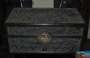 Chinese Rosewood Hand Carved Dragon Play Bead Statue Ancient Container Chest Box