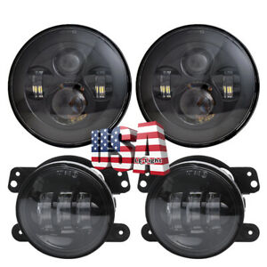 Osram 7 Led Headlights 4 Led Fog Light Spot Lamp Combo Kit For Jeep Hummer H2