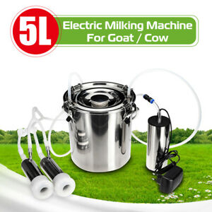 5l Stainless Steel Electric Milking Machine Cow Goat Milker Dual Upgraded Heads