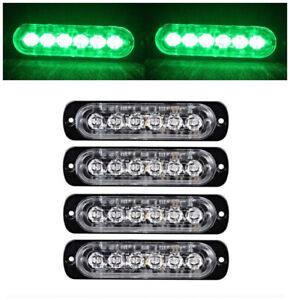 4x Green 6 Led Light Flash Emergency Car Vehicle Warning Strobe Flashing 12 24v