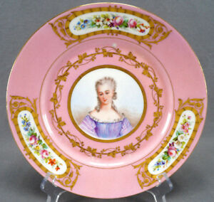19th Cent Sevres Style Pompadour Pink Hand Painted Lady Portrait