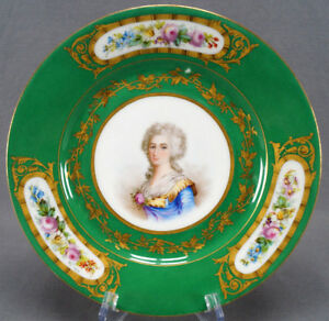 19th Century Sevres Style Hand Painted Madame Elisabeth Green Gold Plate