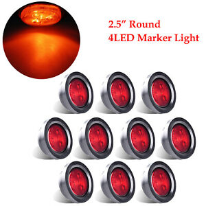 10x Red 4 Led Trailer Side Marker Lights 2 5 Round Clearance Sealed Truck Boat
