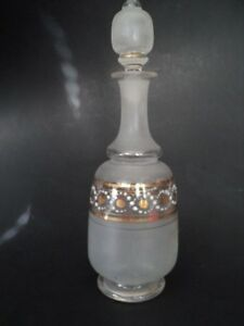 Victorian Hand Blown Decanter Stopper Hand Painted Gold White Glass Bottle