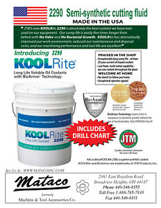 Kool Rite 2290 Cutting Fluid With Drill Chart Jtm Lathe Soluble Coolant 5 Gal