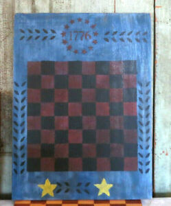 Grubby Primitive Painted Wooden Gameboard Game Board Checkers Blue