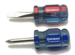 Two Kobalt Mini Stubby Screwdriver One Philips One Slotted Lightly Used