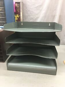 Verteflex Vintage Gray Metal Office Desk Top Or Wall Vertical 4 Tier File Folder