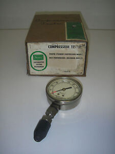 Vintage Sears Compression Tester W Box Instruction Auto Testing Tool 28 2119
