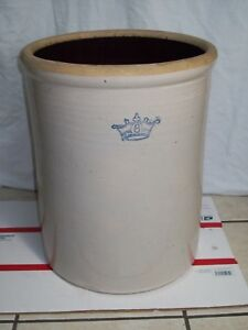 Antique 8 Gallon Blue Crown Stoneware Crock Robinson Ransbottom Pottery