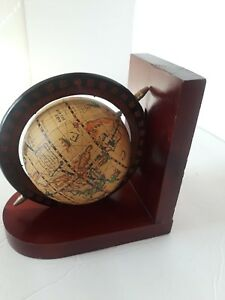 Vintage World Italian Desk Spinning Globe On Wooden Base Distressed