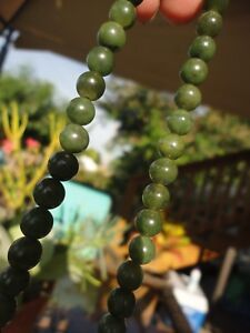 Antique Vintage Deco Chinese Carved Green Nephrite Jade Bead Necklace Estate