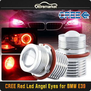 2x Red Angel Eyes Cree Led Lights Ring Marker 120w Total For Bmw E39 E60 E53 E65