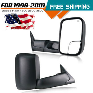L r 2x Power Heated Towing Mirrors For Dodge Ram 1998 2001 1500 1998 2002 2500