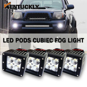 4x 3inch Square Led Work Lights Flood Cube Pods Suv Offroad Light For Truck Jeep