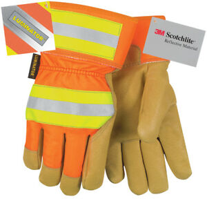 Mcr 19261 Luminator High Visibility Winter Leather Gloves Lg 12 Pairs
