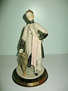 Capodimonte 1987 Porcelain Lady Walking Dog Figurine By Roberto Brambilla