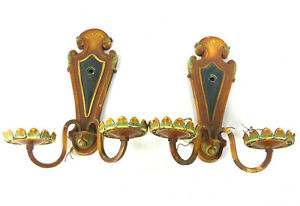 Vintage Wall Sconces Pair Art Deco Cast Metal Signed S A 1930s To Rewire Diy