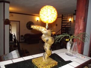 Spaghetti Globe Lamp W Coiled Snake Body Mid Century Mod 30 Tall It Works