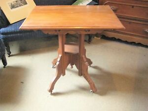 Victorian East Lake Spoon Carved Parlor Table With Fern Shelf