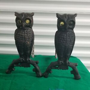 Pair Of Vintage Antique Cast Iron Owl Fireplace Andirons Yellow Glass Eyes
