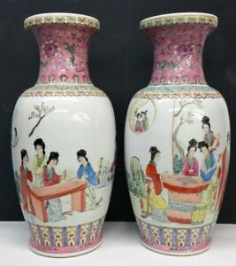 Pair Chinese Famille Rose Enameled Porcelain Vases Hand Painted Qianlong 17 3 4