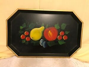 Vintage Nashco Black Towle Hand Painted Fruit Metal Serving Tray