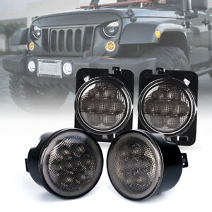 Led Turn Signal W Halo Drl fender Side Light Smoke Lens For 07 18 Jeep