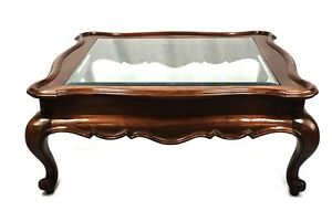 Vintage French Country Square Bevaled Glass Top Coffee Table Henredon Style