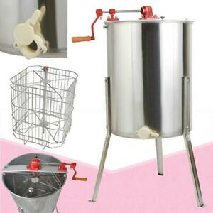Stainless Steel Large 4 Frame Honey Extractor Manual Beekeeping Equipment New