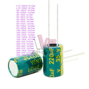 6 3v 450v High Frequency Low Esr Radial Electrolytic Capacitor 10uf 10000uf 105c