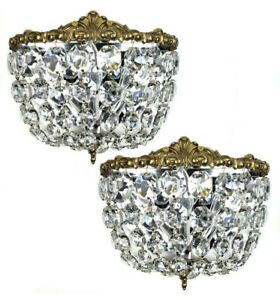 Pair Of Midcentury Italian Brass Crystal Empire Style Wall Sconces Vintage