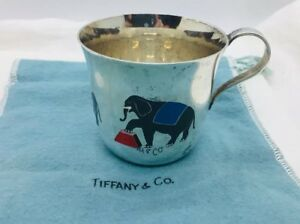 Tiffany Co Vintage Sterling Silver Circus Elephants Enamel Cup
