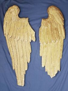 Antique European Hand Carved Wood Life Size Angel Wings 18th Century