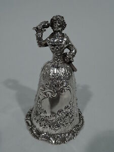 Antique Bell Figural Lady Belle German 800 Silver C 1900