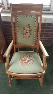 Vintage Carved Eastlake Needle Point Rocking Chair
