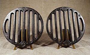 Antique Lot 2 Cast Iron Old Stove Pipe Flue Cover Grate Water Floor Ventilator