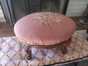 Outstanding Early 1900s French Needlepoint Foot Stool Spring Cushion